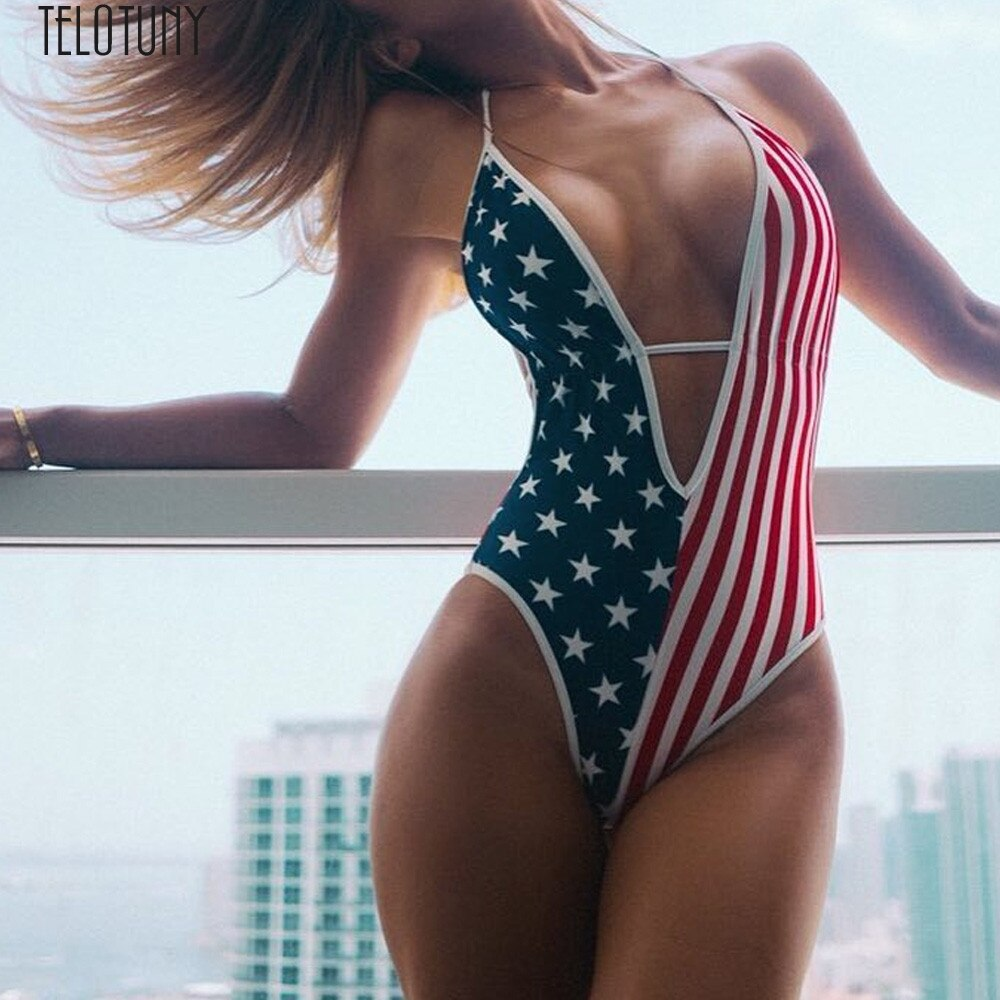 Woman Monokini Swimsuit USA Flag printed One Piece Swimwear S-4XL Bikini