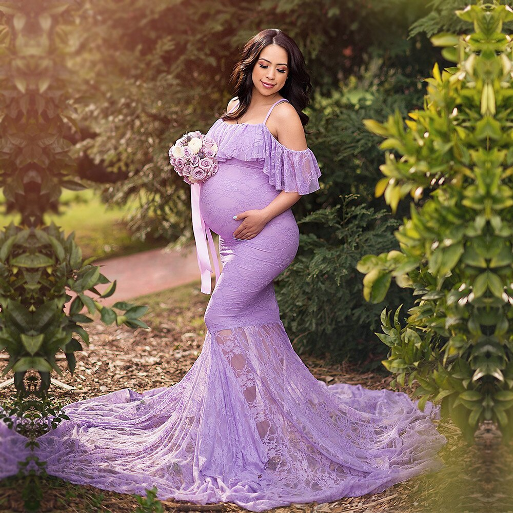 Plus Size Lace Maternity Dress For Photoshoot- Lace Maternity