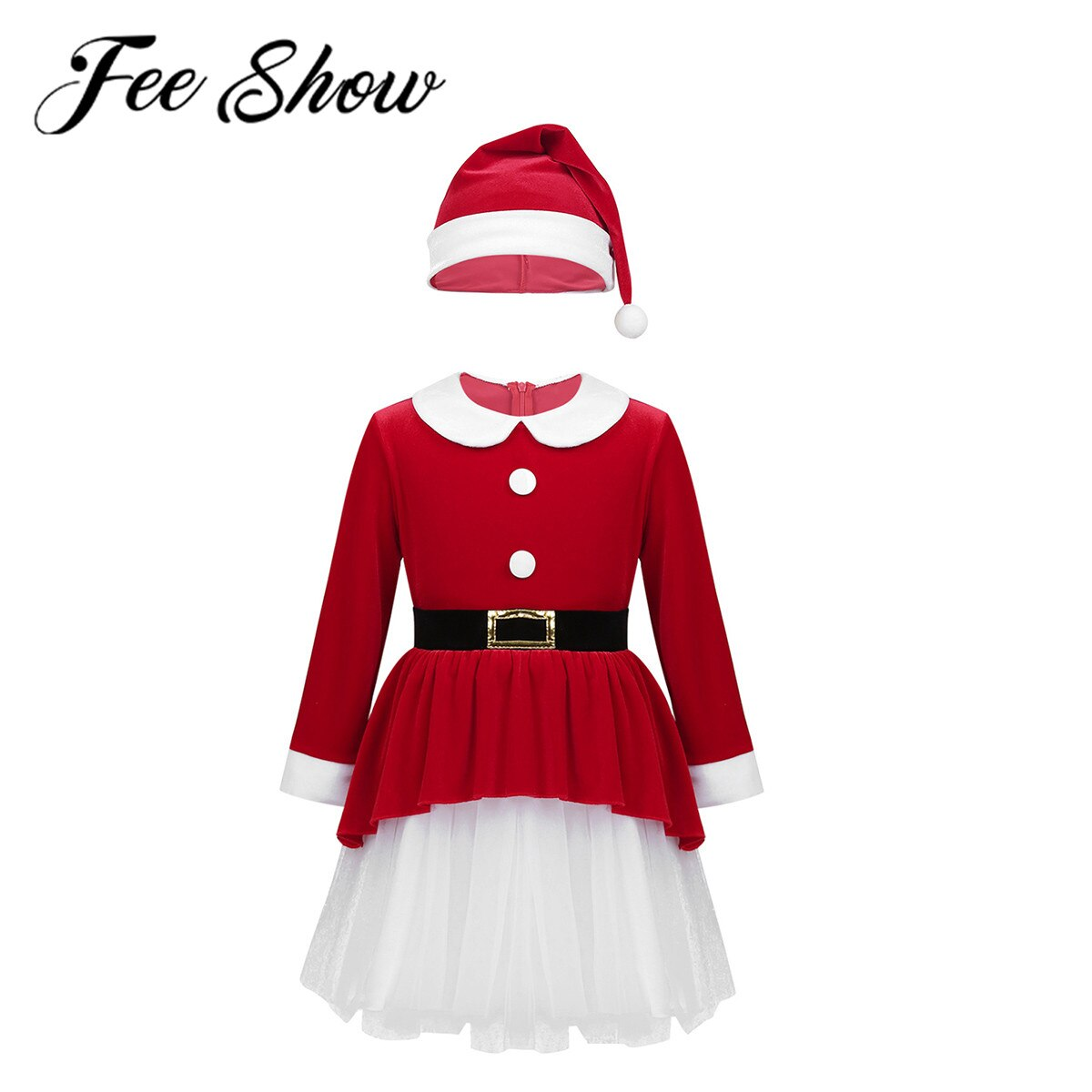 Christmas Red Santa Claus Girls Kids Clothes Dress Party Gift Cosplay Costume