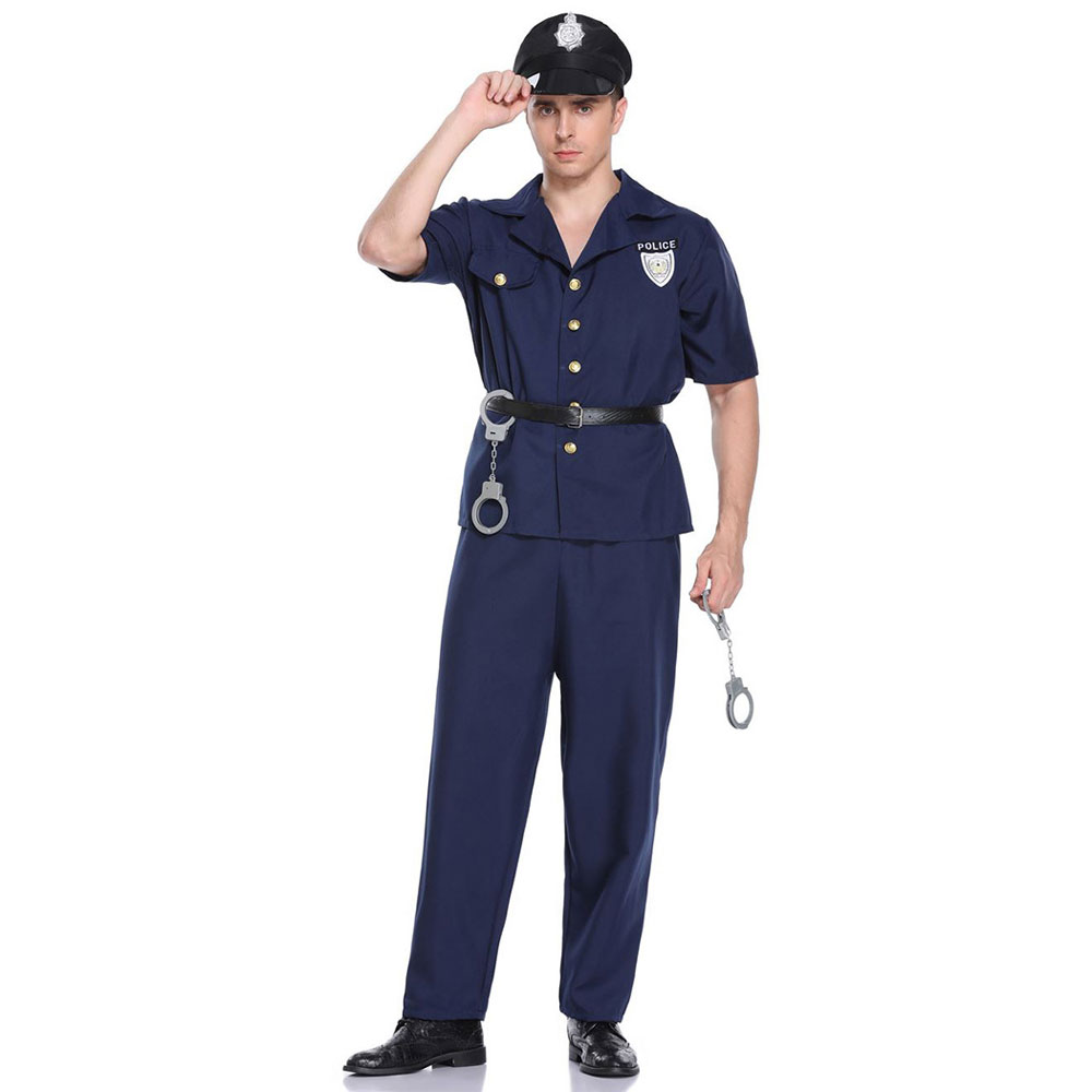 Adult Mens Policeman Cop Officer Police Cosplay Uniform Outfit Halloween Costume