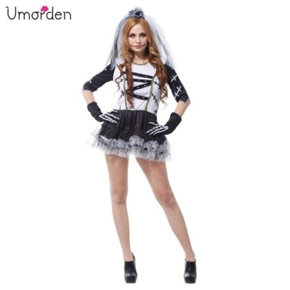 Scary Womens Halloween Costumes- Monster Bride Costume Teen Junior Girls Corpse Bride Costumes Scary Zombie Cosplay.