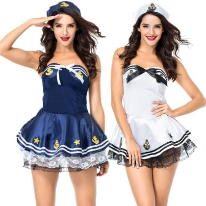 Professional Horror Halloween Costumes- Sexy Sailor Marine Navy Uniform Suit Fantasia Halloween Carnival Costume.