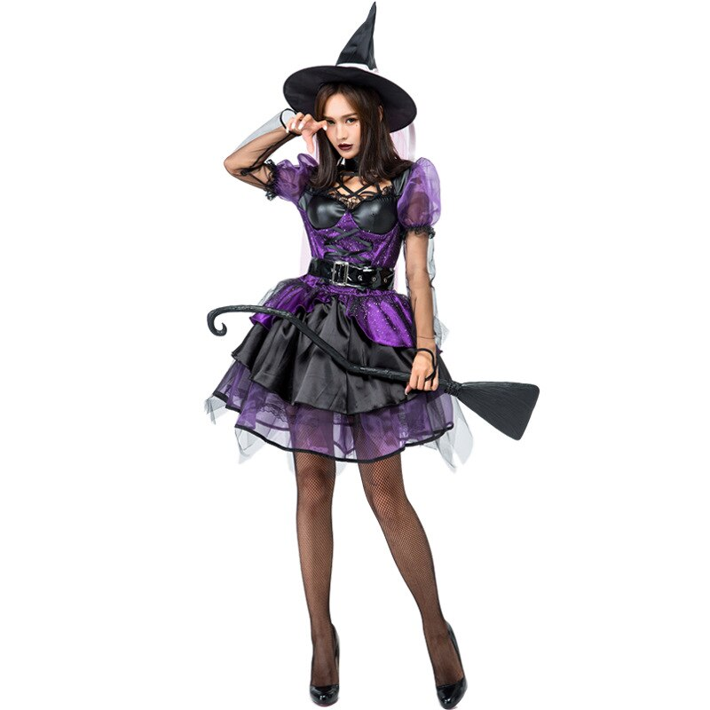 Classic Womens Halloween Costumes Gorgeous Amethyst Pentagram Neckline Purple Sequin Halloween Classic Witches Costumes Cosplay Kids And Mom Shop