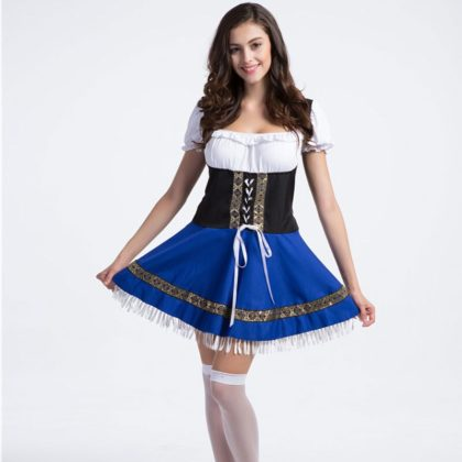 Creative Halloween Costume Ideas- 4XL Plus Size German Bavarian Oktoberfest Costume Waiter Cosplay.