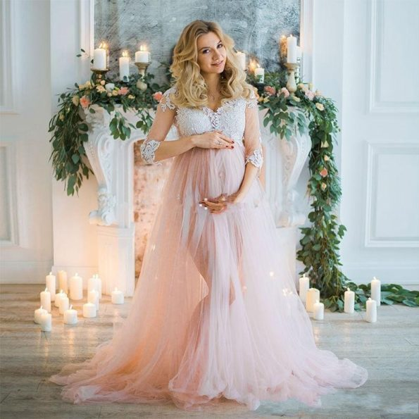 Blush-Pink-Long-Tulle-Maternity-Dresses-With-Half-Sleeves-Appliques-Pregnant-Women-Dress-To-Photoshoots-2018-1