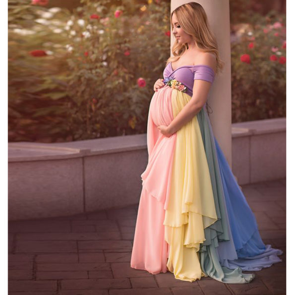 Pretty-Mix-Color-Chiffon-Long-Skirts-Maternity-Ruffles-Modest-Floral-Pregnant-Female-Maxi-Skirt-For-Women-1