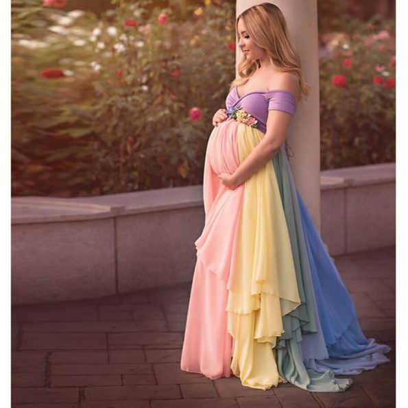 Pretty-Mix-Color-Chiffon-Long-Skirts-Maternity-Ruffles-Modest-Floral-Pregnant-Female-Maxi-Skirt-For-Women-2