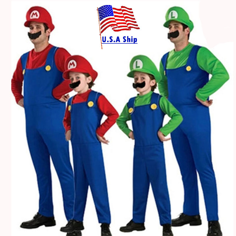 Halloween Costumes Men Super Mario Luigi Brothers Costume Kids