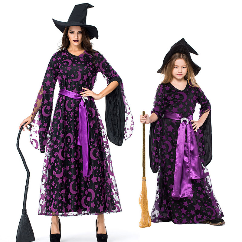 Purple Star Moon Witch Sorceress Costume Long Dress Women Kids Girls Teen Halloween Witches Costumes Cosplay For Family Kids And Mom Shop