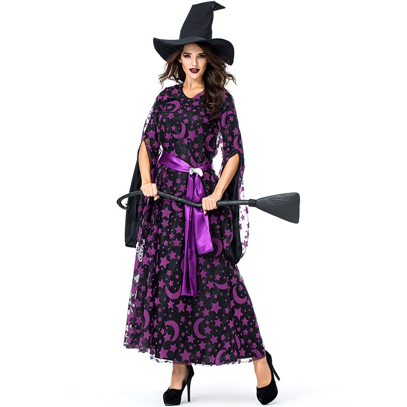 Women S Purple Star Moon Witch Sorceress Costume Long Dress Halloween Classic Witches Costumes Cosplay Kids And Mom Shop