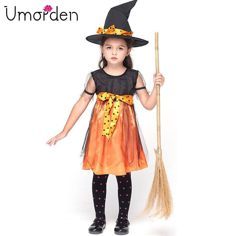 Halloween Costumes Children Girl Witch Costume Dress Hat Bow Knot Party Cosplay Fancy Fantasia Infantil Clothing For Girls Kids Kids And Mom Shop