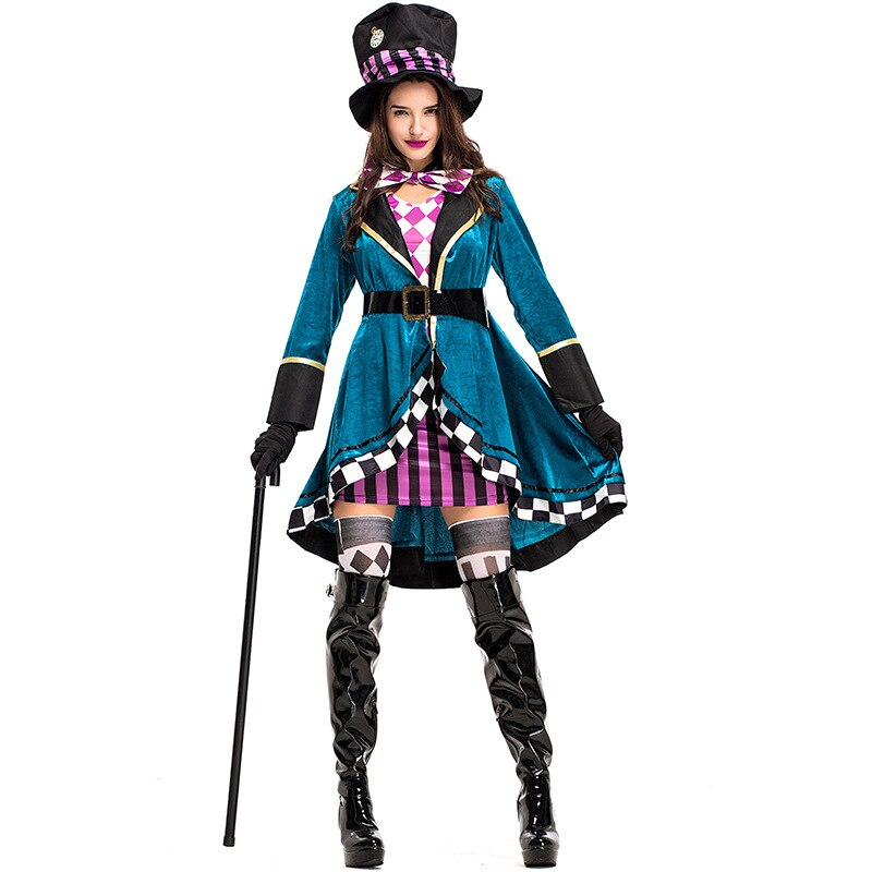 Blue Delightful Mad Hatter Costume Tank Dress With Clock Hat For Women Halloween Alice In Wonderland Costumes Kids And Mom Shop