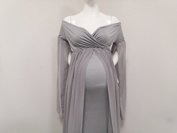 Baby-Shower-Long-Dresses-With-Cape-Fitting-Maternity-Maxi-Gown-For-Photo-Shoot-Pregnancy-Photography-Jersey-Stretchy-Dress