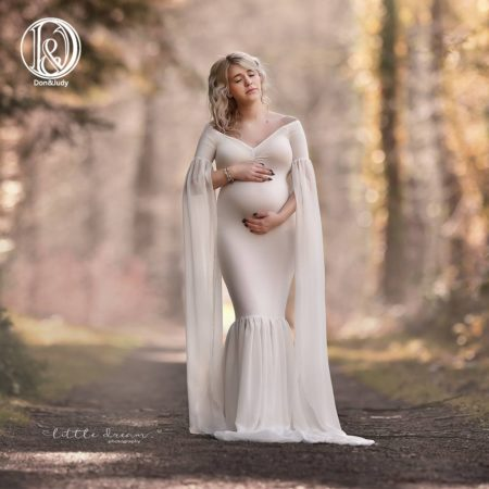 Long Full Sleeve Maternity Dress Photo Shoot Soft Cotton Maxi Maternity Gown Sexy Maternity Photography Props Baby Shower Gift