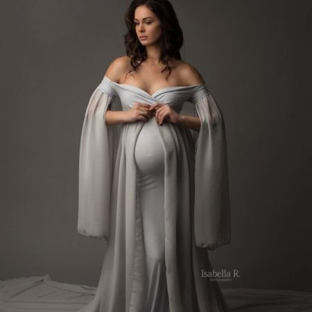 Baby Shower Long Dresses With Cape Fitting Maternity Maxi Gown For Photo Shoot Pregnancy Photography Jersey Stretchy Dress