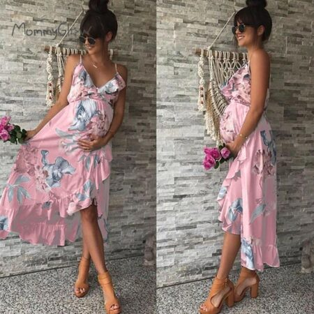 Maternity Dresses Maternity Clothes Elegant Pregnancy Dress Casual Floral Printed Ruffles Falbala Sundress For Pregnant Women