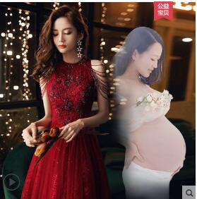 Wine-long-sweat-pregnant-lady-girl-women-princess-bridesmaid-banquet-party-ball-prom-dress-gown-free-shipping