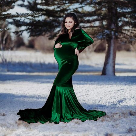 Velvet Maternity Off Shoulder Fitted Gown Maxi Photography Dress for Baby Shower Pregnancy Ruffles Long Sleeve Photo Props Dress