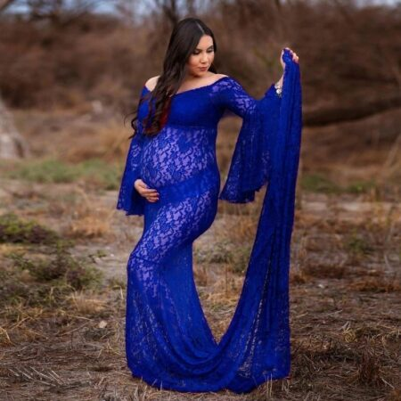 Lace Maternity Dresses For PhotoSexy Flare Sleeve Shoulder Pregnancy Long Dress Photography Pregnant Women Baby Shower