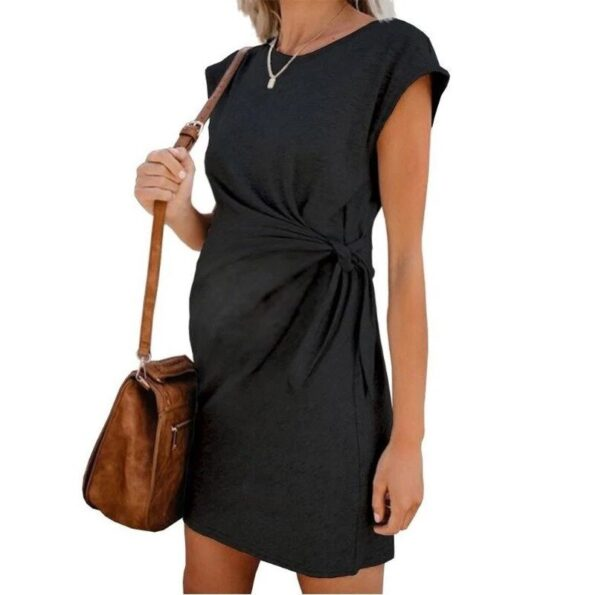 2020-Popular-Pure-Color-Tie-in-Waist-Pregnant-Women's-Dress-Soft-And-Comfortable-Cotton-Spot-Vestidos-Gestante-Pregnancy-Dress