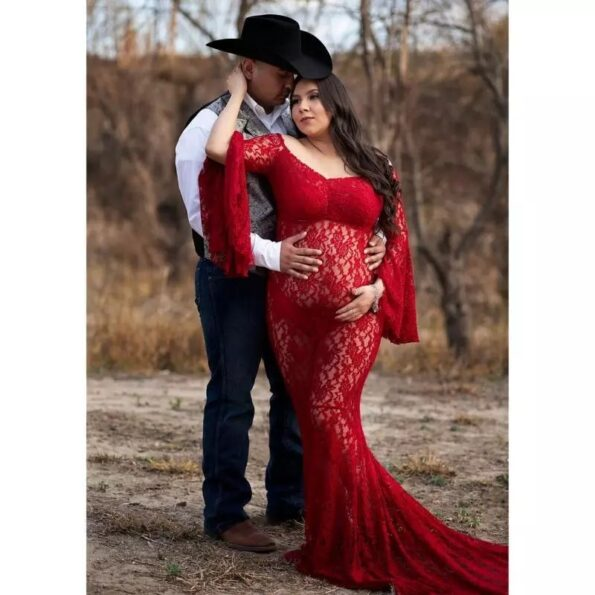 Lace-Maternity-Dresses-For-PhotoSexy-Flare-Sleeve-Shoulder-Pregnancy-Long-Dress-Photography-Pregnant-Women-Baby-Shower